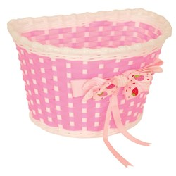 KIDDIES BASKET - PINK & WHITE BASKET WITH STRAWBERRY BOW