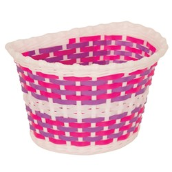 KIDDIES BASKET - WHITE BASKET WITH PINK AND PURPLE WEAVE