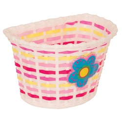 KIDDIES BASKET - WHITE BASKET WITH BLUE FLOWER AND PINK/ YELLOW WEAVE